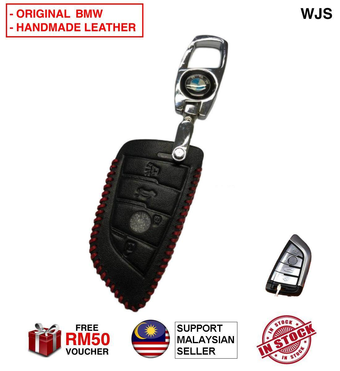 (ORIGINAL KEY LEATHER COVER) WJS Stainless Steel BMW 3 Series 5 Series 320 520 F30 F20 X1 X3 X5 X6 X7 F20 E34 E90 E60 E36 G30 G38 Smart Key Leather Key Cover Case Keyless Remote Casing BLACK WITH STRAP [FREE RM 50 VOUCHER]