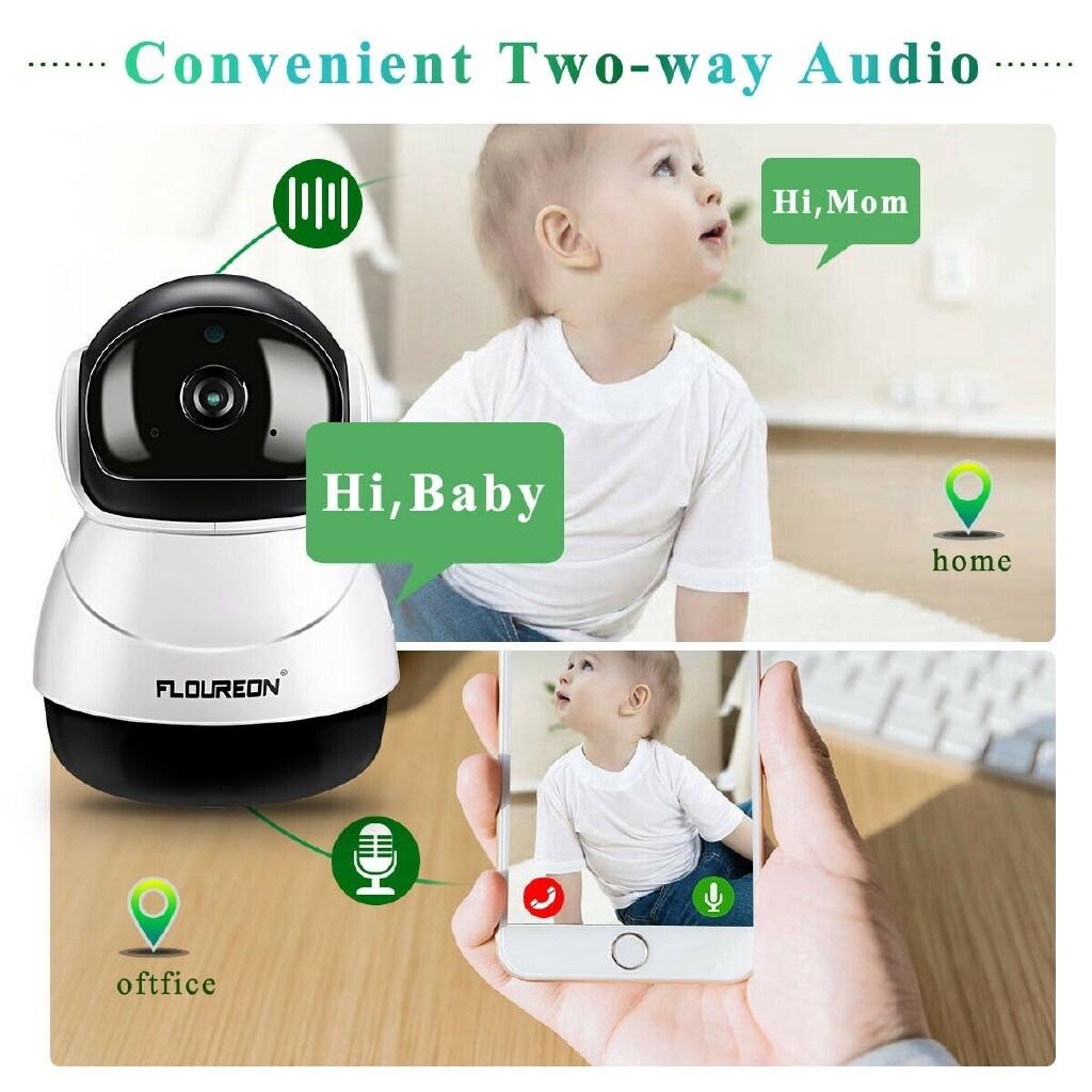 1080P WIRELESS WIFI IP Camera CCTV HD Baby Monitor Home Security IR CAM Pan/Tilt - BLACK & WHITE-US / BLACK & WHITE-UK
