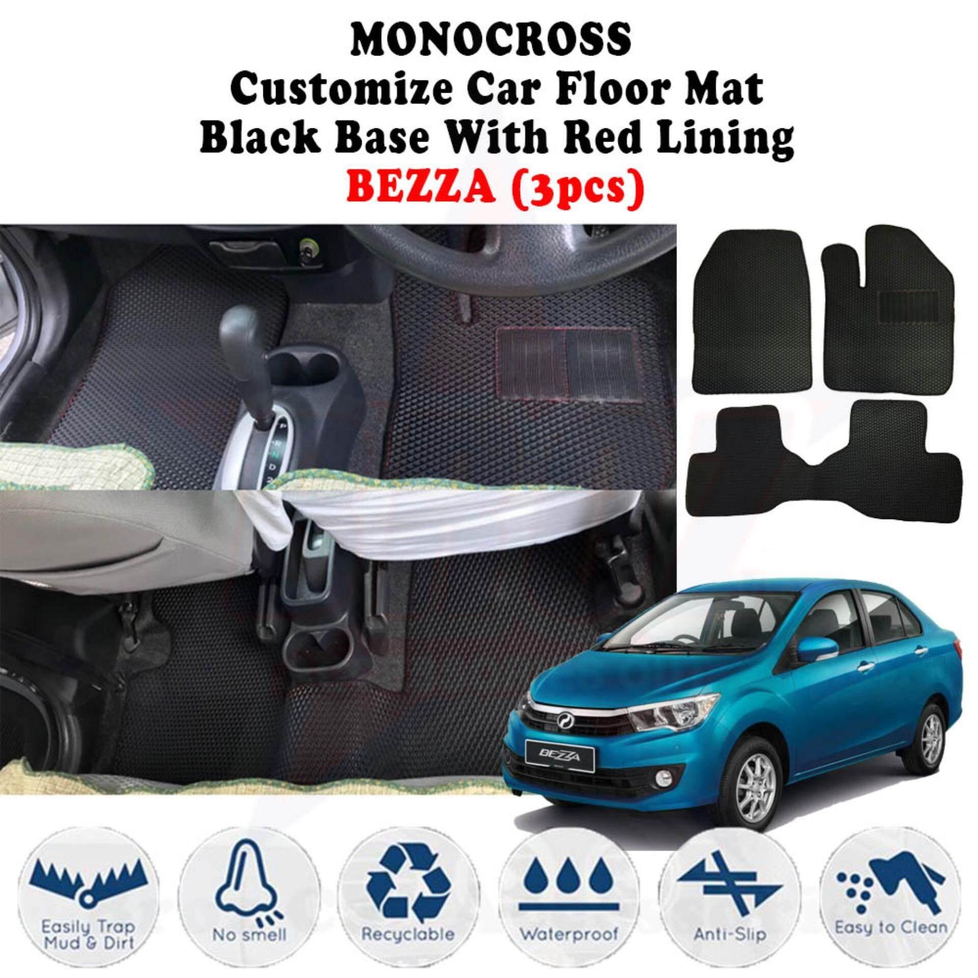 Airvo MONOCROSS Car Mat Customize Floor Mat Black Base With Red Lining - Bezza (3pcs)