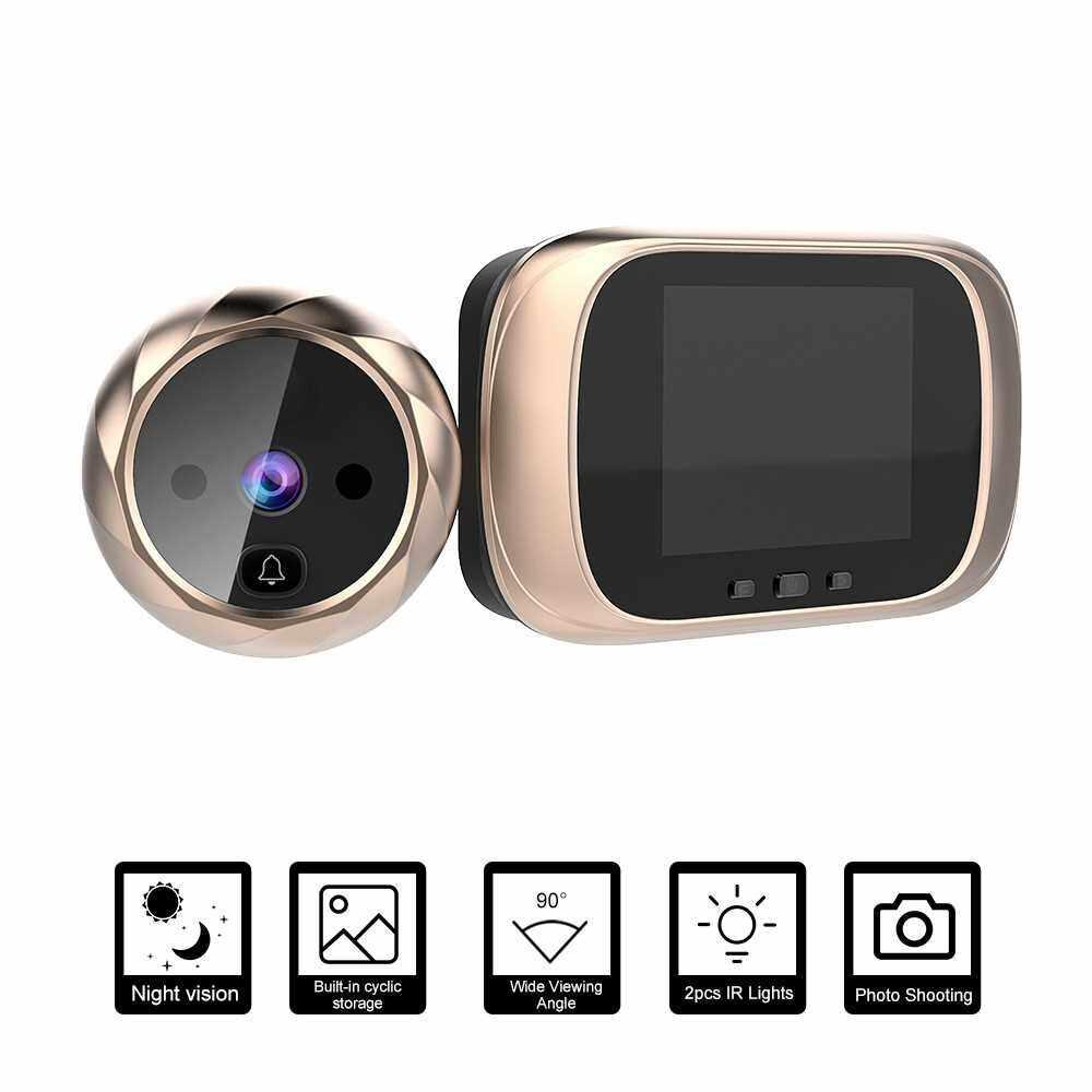 Digital Door Viewer Peephole Door Camera Doorbell 2.8-inch LCD Screen Night Vision Photo Shooting Digital Door Monitoring for Home Security (Gold)