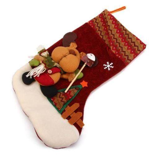 CHRISTMAS STOCKING INDOOR CHRISTMAS HANGING STOCKINGS DECORATION REINDEER DESIGN (COLORMIX) toys for girls