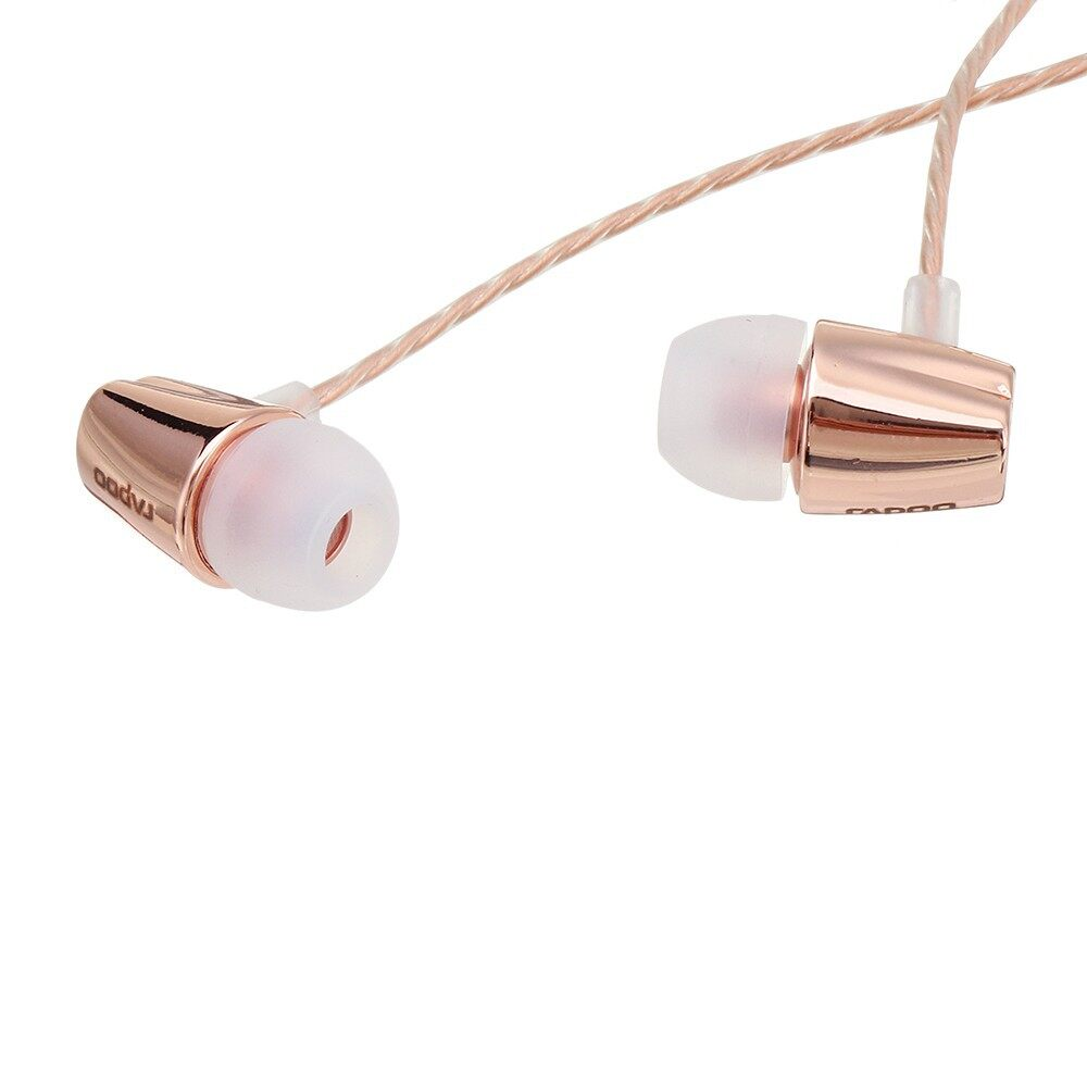 On-Ear Headphones - Rapoo VM120 Wired In-ear Gaming Earphone with Microphone Line Control - ROSE GOLD / GREY