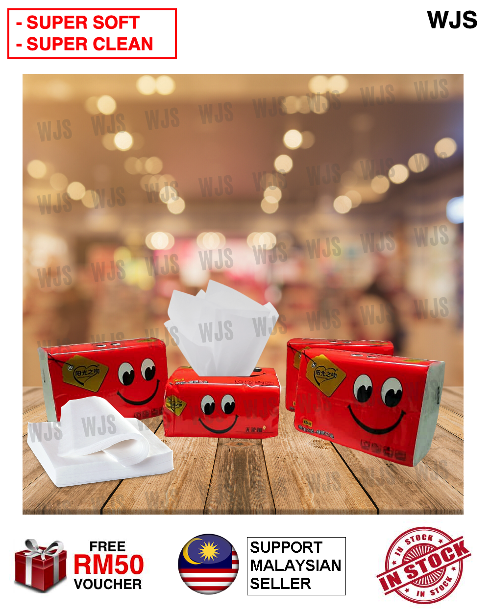 (SUPER SOFT AND CLEAN) WJS 4 Ply 4 Layer Organic Natural Tissue Facial Tissue Paper Toilet Paper Travel Paper Soft Pack Hand Towel Fire Resistant Sanitised Anti Bacteria Travel Size Kertas Tisu Tandas RED [FREE RM 50 VOUCHER]