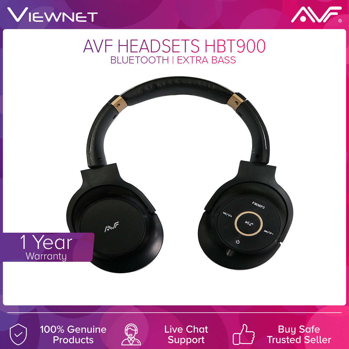AVF Wireless Headsets HBT900 with Bluetooth, AUX-In Mode, TF Card Mode, FM Radio Mode, 5 Hours Battery Life, Power Save Mode