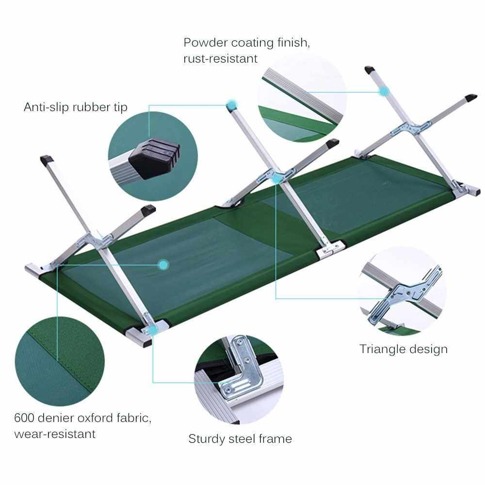 Outdoor and Indoor Portable Folding Bed Multifunctional Folding Camp Bed Folding Camping Cot with Carrying Bag (Blue)