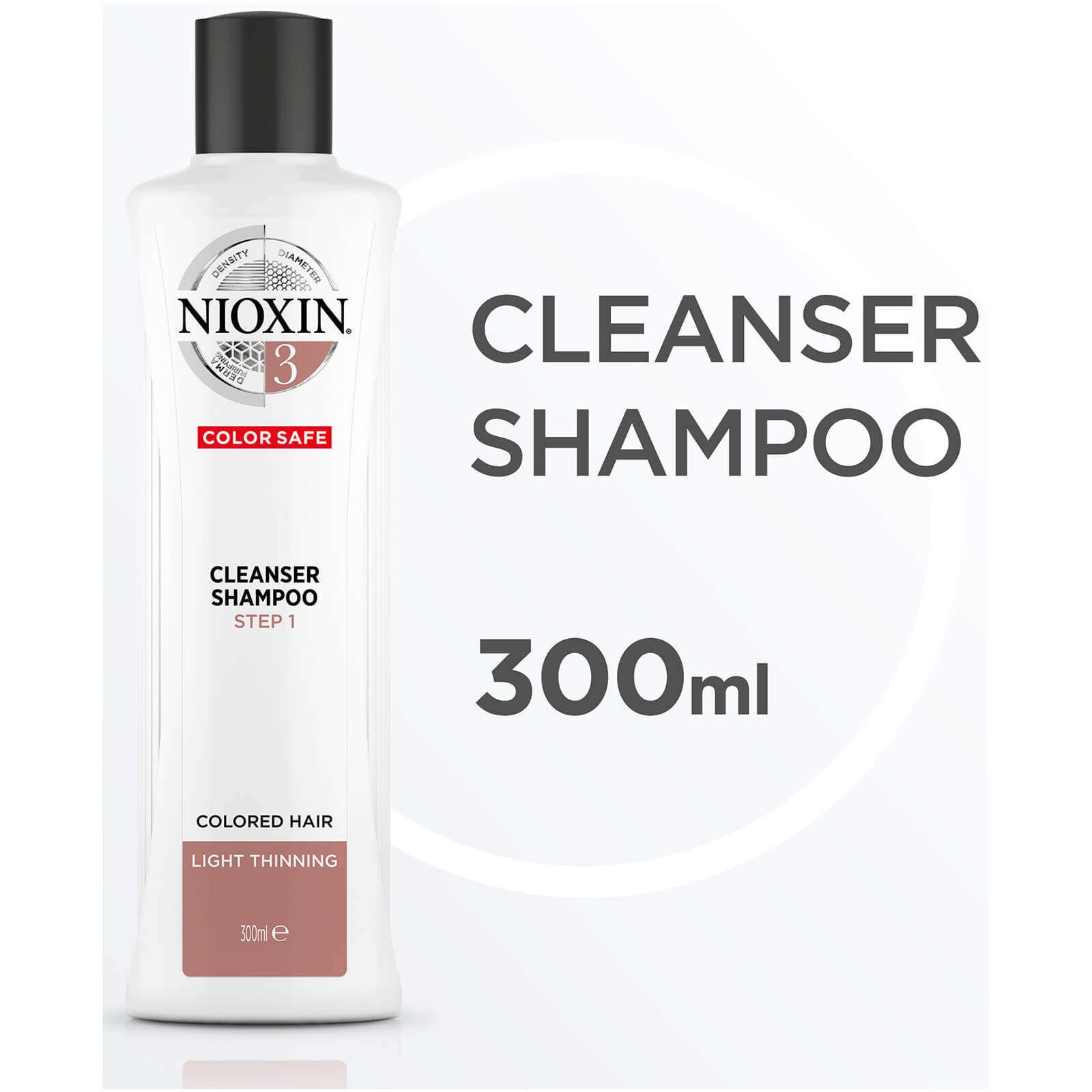 NIOXIN System 3 Cleanser Shampoo for Coloured Hair with Light Thinning 300ml