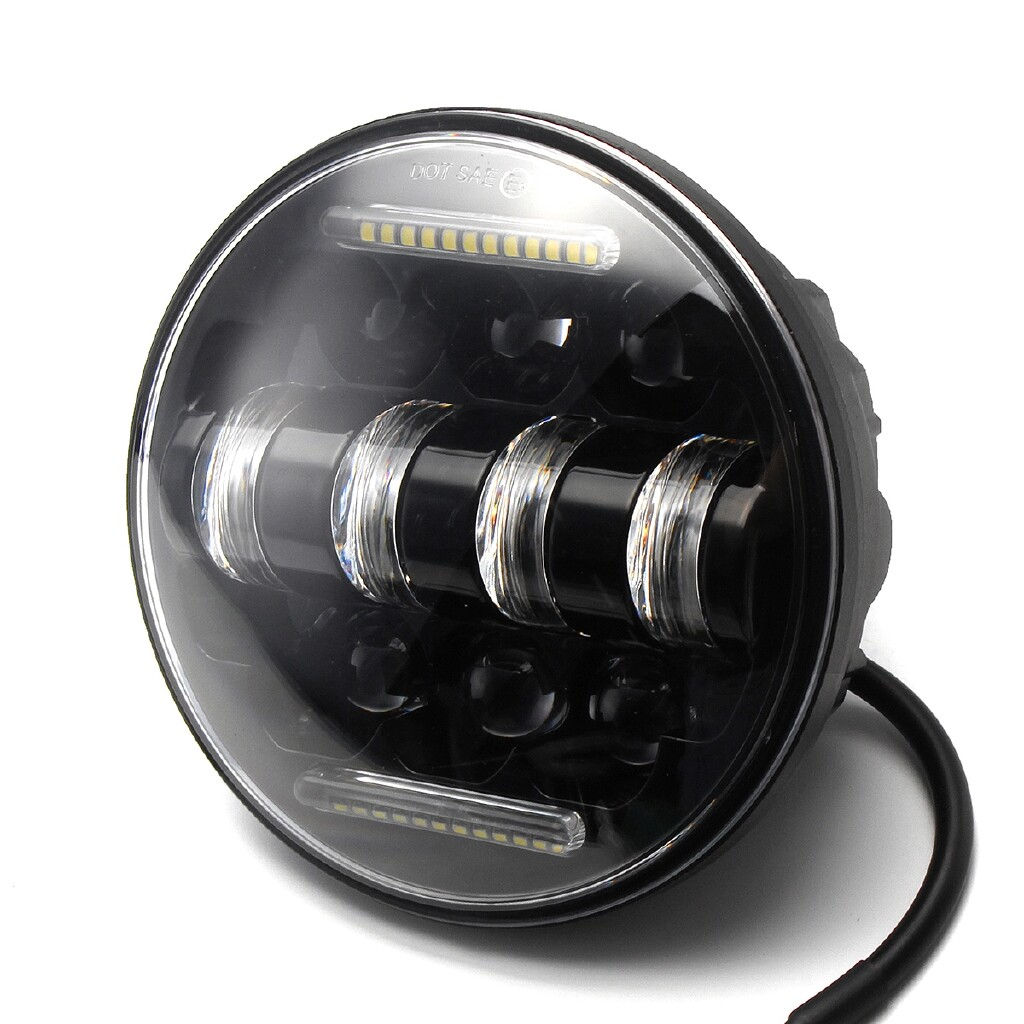 Car Lights - 5.75'' H4 Motorcycle LED Headlight Hi/Lo Beam Light Lamp For Harley Cafe Racer - Replacement Parts