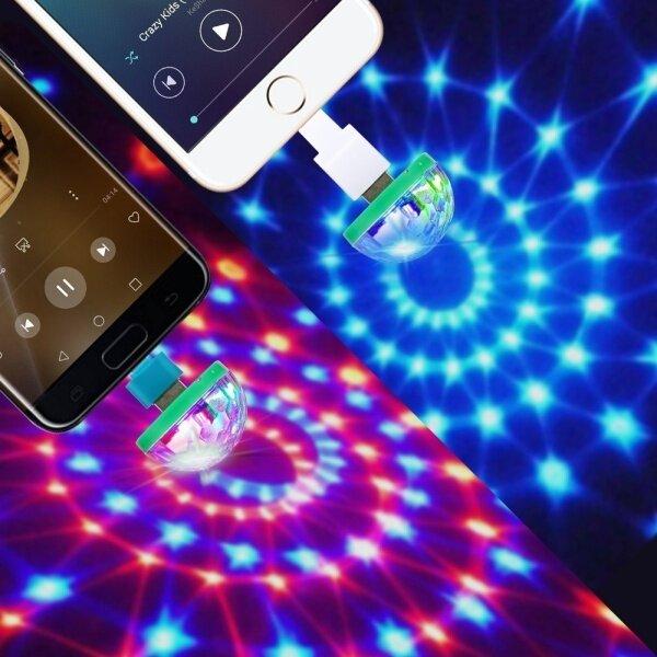 【Trang Trí】đèn LED Cầu Pha Lê Disco Mini USB Cầm Tay Đèn Tiệc, Đèn Phòng RGB Quả Cầu Ma Thuật Pha Lê Bóng Đèn Trang Trí Tiệc Tại Nhà