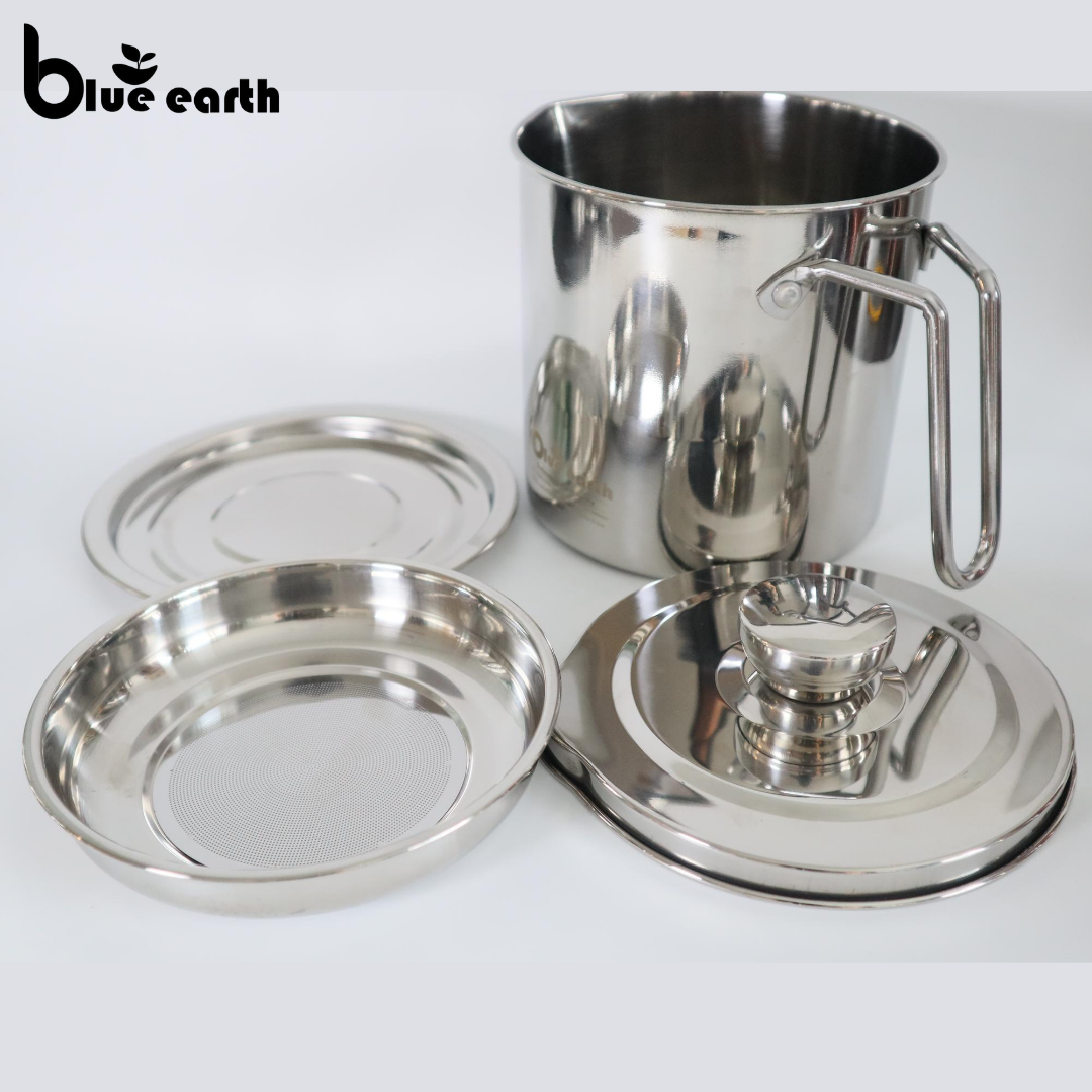 Blue Earth 304 Stainless Steel Oil Strainer Pot Grease Can 1.6L  Oil Pot with Filter Strainer