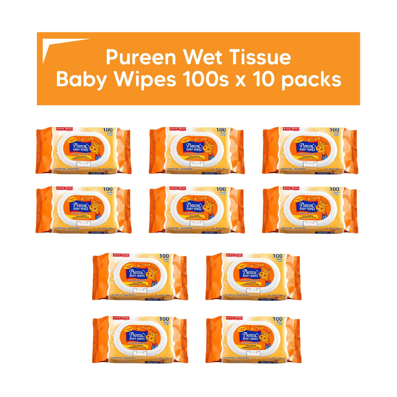 [LazChoice] Pureen Wet Tissue Baby Wipes 100 pcs x 10 packs Tissues Wipe Bundle Set Murah