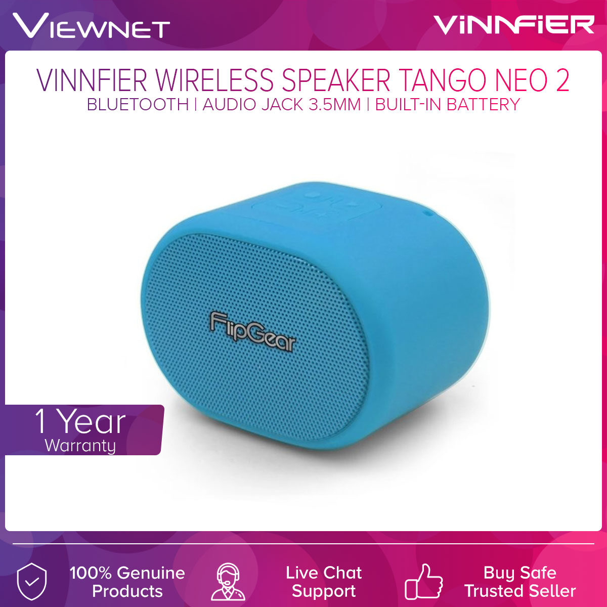 Vinnfier Wireless Portable Speaker Tango Neo 2 with Bluetooth Connection, Audio Jack 3.5MM, USB Support, SD Card Slot, FM Radio, Up To 4 Hours Battery Life