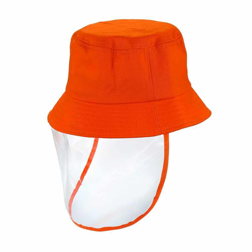 Kids Hat with Transparent Anti-dust Cover Hats Anti Sun Dustproof Outdoor Hats for Children Boys Girls Toddlers Baby (Orange)