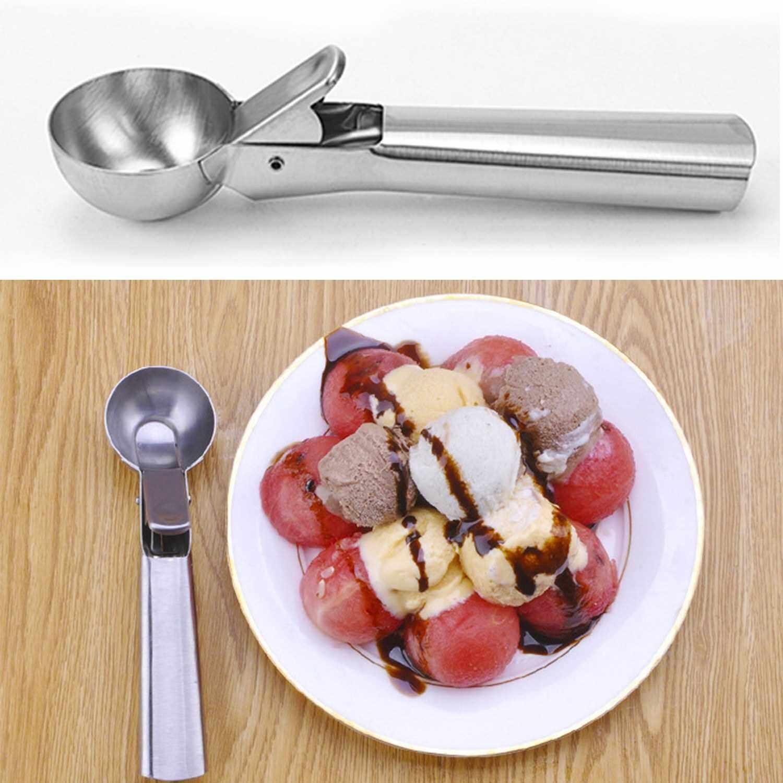 Best Selling Ice Cream Scoop with Trigger Release Stainless Steel Fruits Scoop Comfort Grip Handle Cookie Dough Scooper for Baking Watermelon Food Party Dessert Restaurant Kitchen Gadgets (Standard)