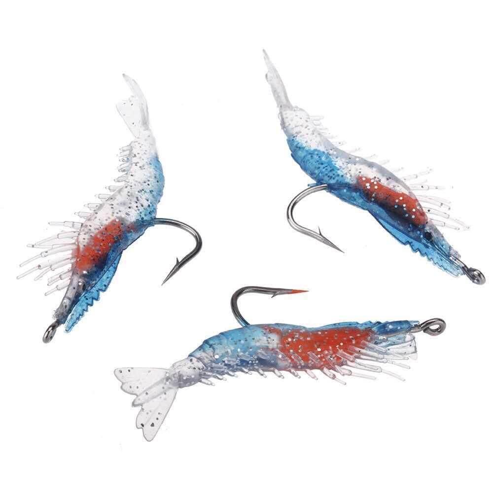 3Pcs Artificial Fishing Lure Bionic Shrimp Prawn Soft Bait Fishing Tackle Noctilucent Luminous Lifelike with Hook