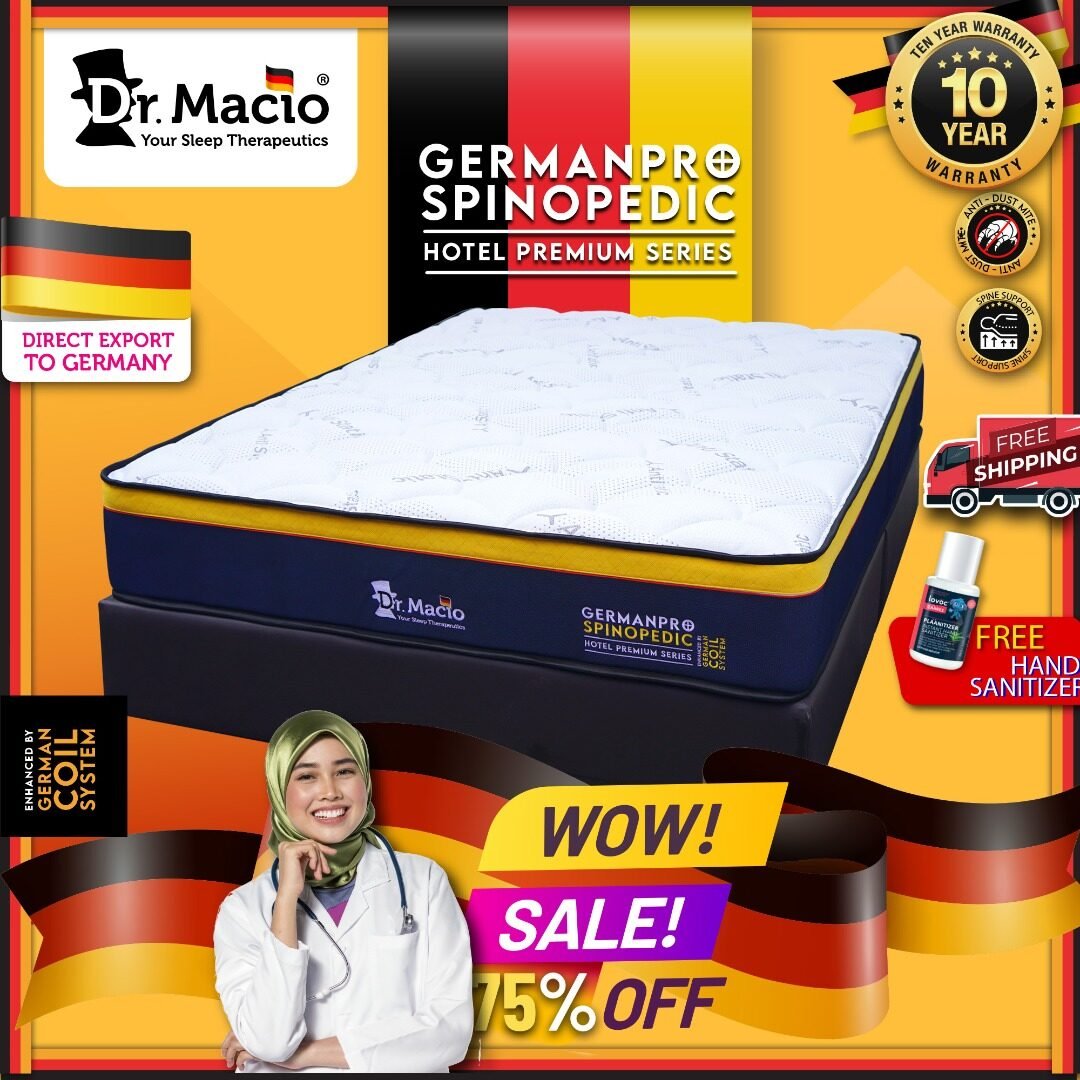 ( Free Shipping )  Dr.Macio Spinopedic GermanPro - ( Hotel Premium Series ) (Single) (Super Single) (Queen) (King) Mattress Tilam ( Anti-static ) Free Pillow Fast Delivery CMCO