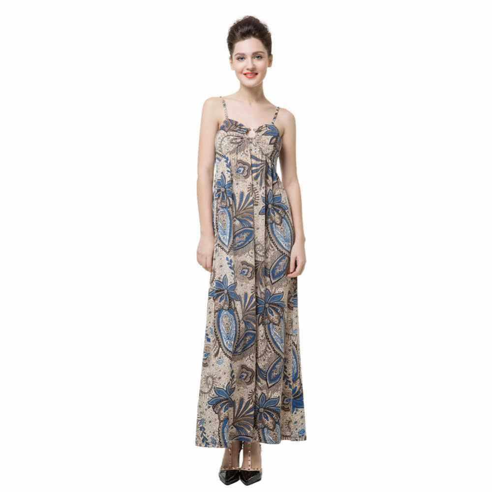 Anself Floral Print V Neck Women\'s Spaghetti Strap Beach Maxi Dress Dress (Blue)