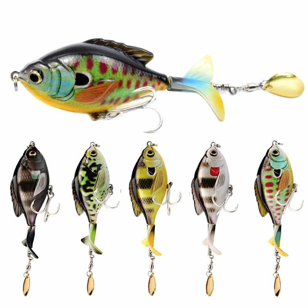 Best Selling LIXADA 3.7in / 0.60oz Topwater Wobbler Bait Lifelike Gold Fish Artificial Crankbait with Rotation Tail Hard S Swimming Action Fishing Lure Soft Rotating Tail Floating Bait VIB Bait Crankbait 3D Eyes Bionic Fishing Lures Hook with Treble Hoo
