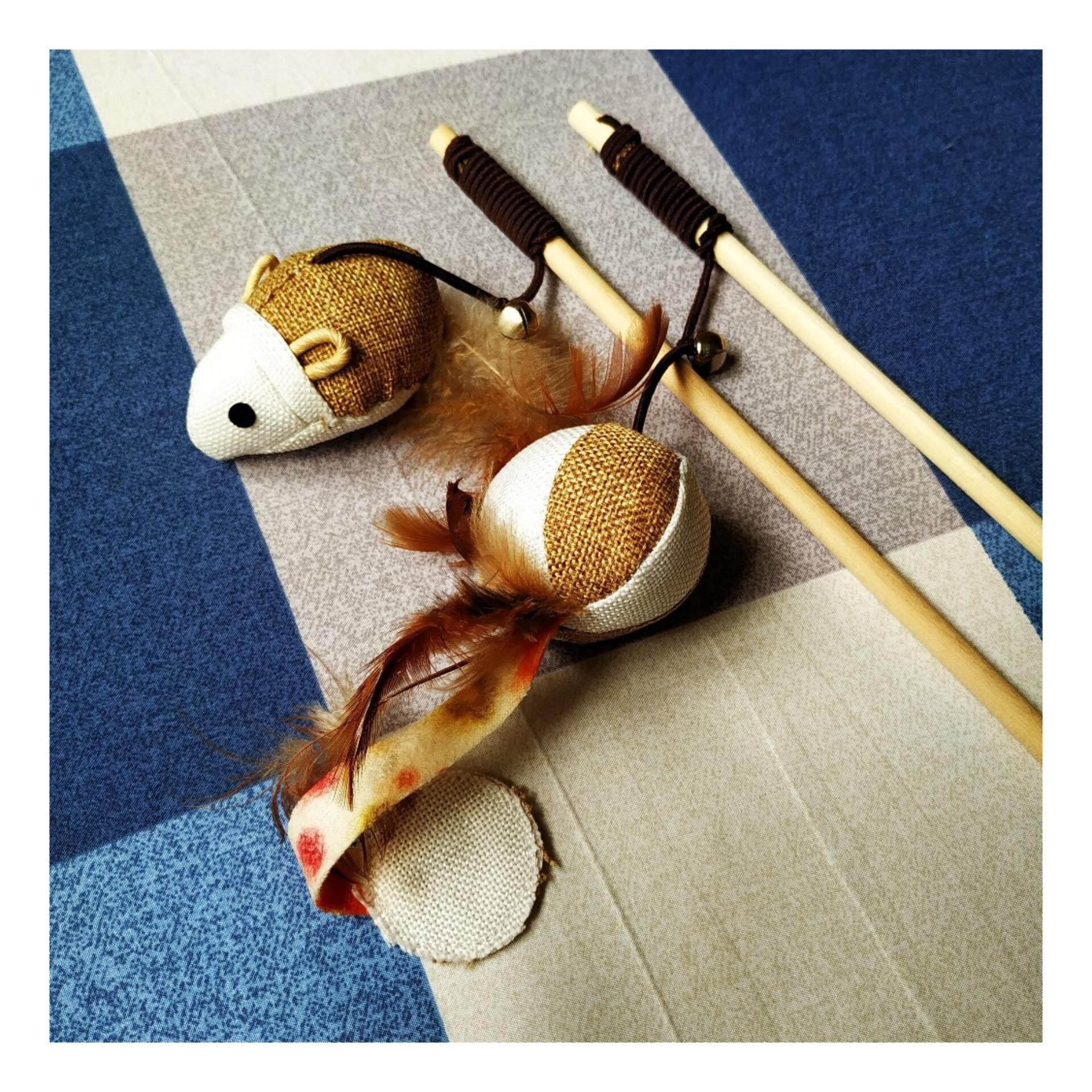 (NEET NEKOWooden Stick Sisal Cat Dangle / Cat Toys / Toy for Cat
