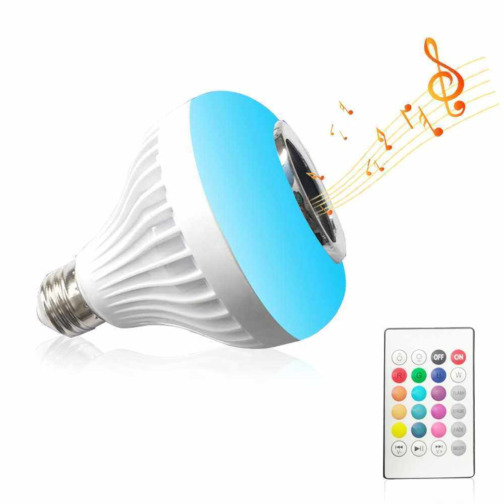 Wireless BT E27 Bulb Remote Control Smart Bulb RGB Color Changing Bulb Music Playing Bulb Built-in Audio Speaker for Home Bedroom Living Room Party Decoration (Standard)