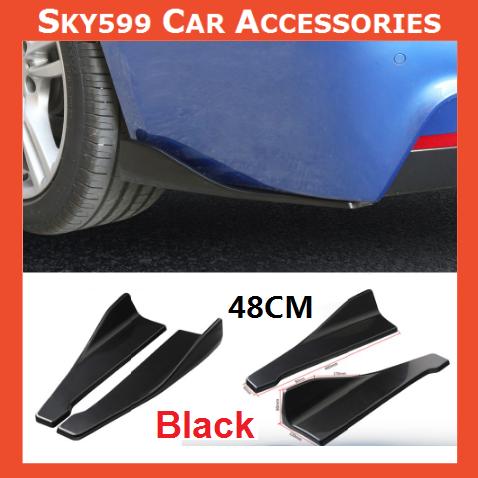 Universal Black Car Bumper Spoiler Rear Lip Side Skirt Rocker Wings 48cm