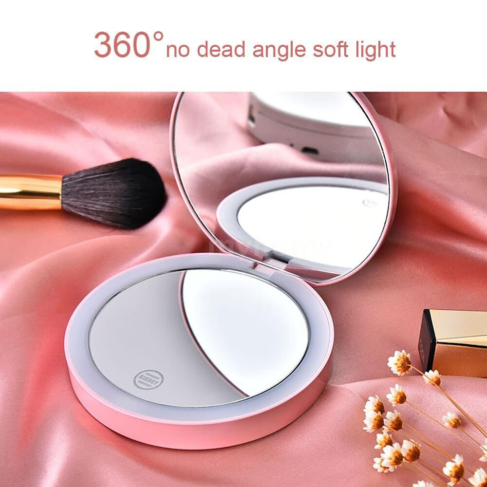 Lighting - PORTABLE Makeup Mirror MINI LEDs Light Touchable Screen Foldable Magnifying Sensing Lighting - GREEN / PINK / WHITE