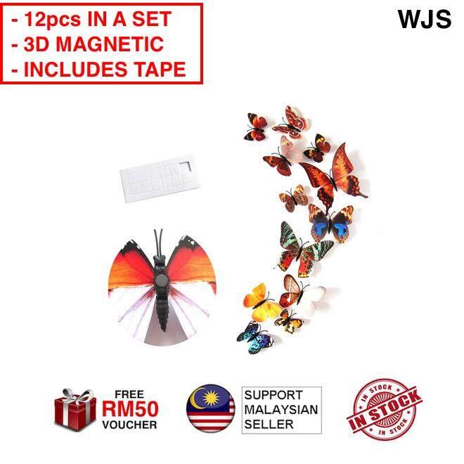 (SUPER ATTRACTIVE) WJS 12pcs 12 pcs 3D PVC Magnet Butterflies Magnetic Butterfly DIY Wall Sticker Nature Feel Garden Atmosphere Home Deco Home Decor Home Design Bedroom Art DIY MULTICOLORS (FREE RM 50 VOUCHER)
