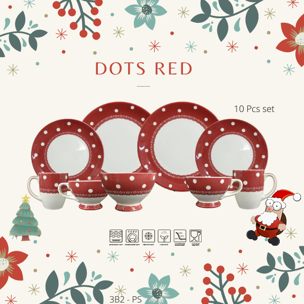 Dinning set-Christmas Promotion-3B2PS-DOTS RED-Christmas Gift-1212 Promotion