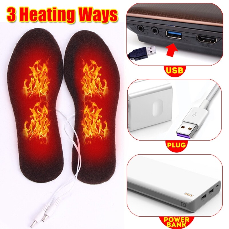 Steering, Seats & Gear Knobs - 5V Electric Heated Shoe Insoles Warm Socks Feet Heater USB Foot Winter Warmer Pads - Car Replacement Parts