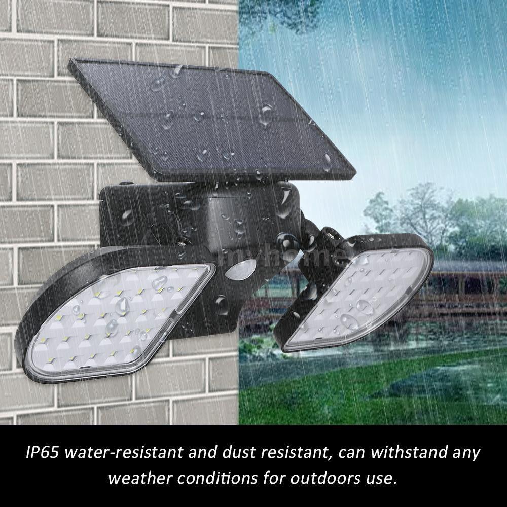 Outdoor Lighting - 56led Solar Powered Lights with Adjustable Dual Heads 360 Degree Rotatable PIR Motion Sensor Wall - BLACK