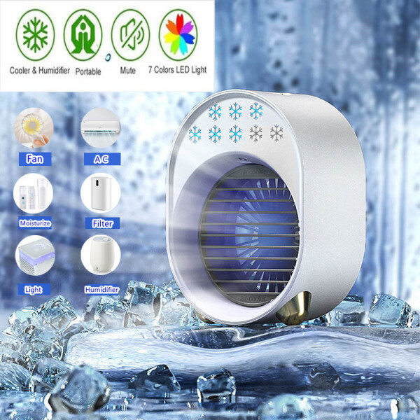 USB Mini Air Conditioner with Colorful Light Portable Humidification Desktop Air Cooler Multifunction Summer Air Cooling Fan Mini Air Conditioner Fan for Home, Bedroom Room, Office, Dorm, Car, Camping Tent