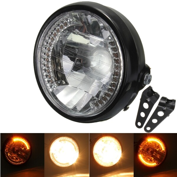 Car Lights - 7inch H4 35W Amber Hi/Low Beam Turn Motorcycle Headlight With Bracket For Harley - Replacement Parts