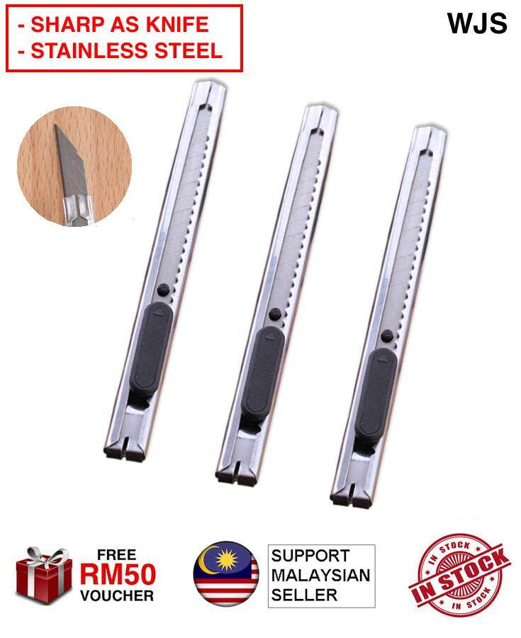 (POINTED EDGE) WJS 2pcs 2 pcs Super Sharp Pointed Office Blade Aluminium Body Utility Knife Cutter Pocket Knife Paper Knife Razor Blade Utility Blade SILVER [FREE RM 50 VOUCHER]