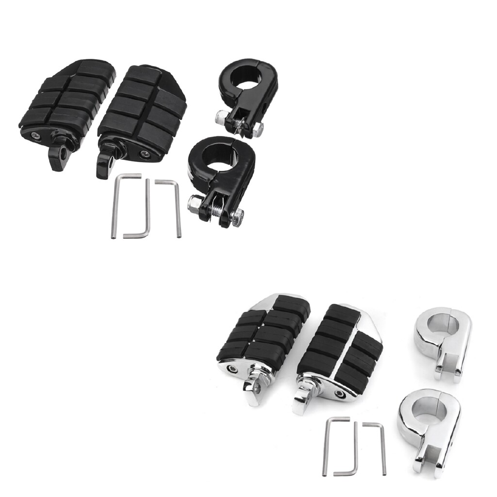 Moto Accessories - For Harley 2 PIECE(s) Universal 32mm Male Footboards Foot Pegs with Mounts Bracket - SILVER / BLACK