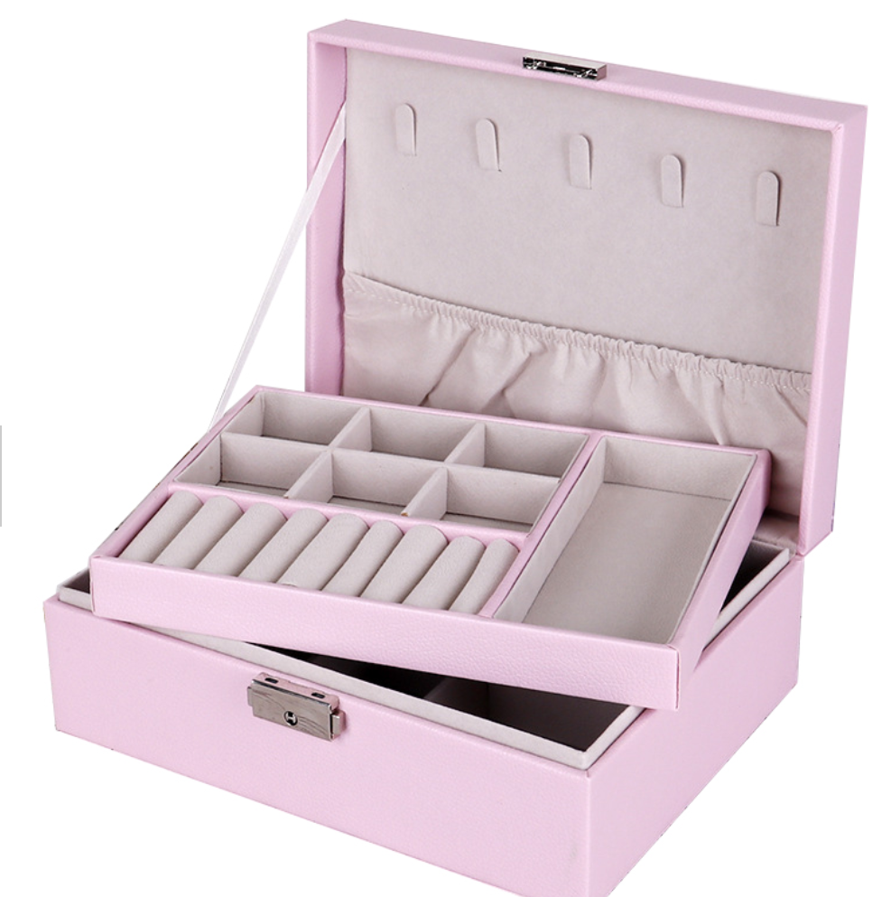 Multi Purpose 2 Tier PU Leather Jewelry Accessories Earrings Necklace Storage Box