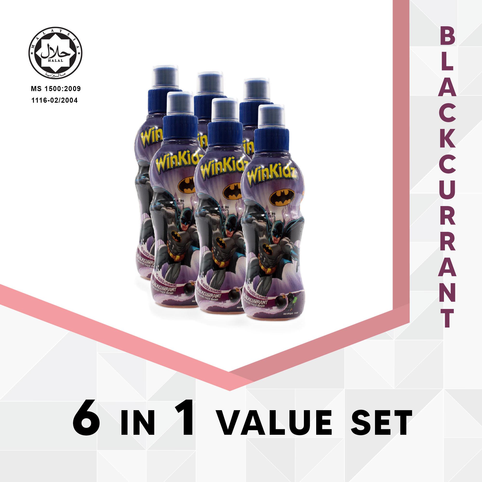 DC Comic Winkidz Batman Fruit Drink For Children 6 In 1 Value Set 250Ml X 6 - Blackcurrant