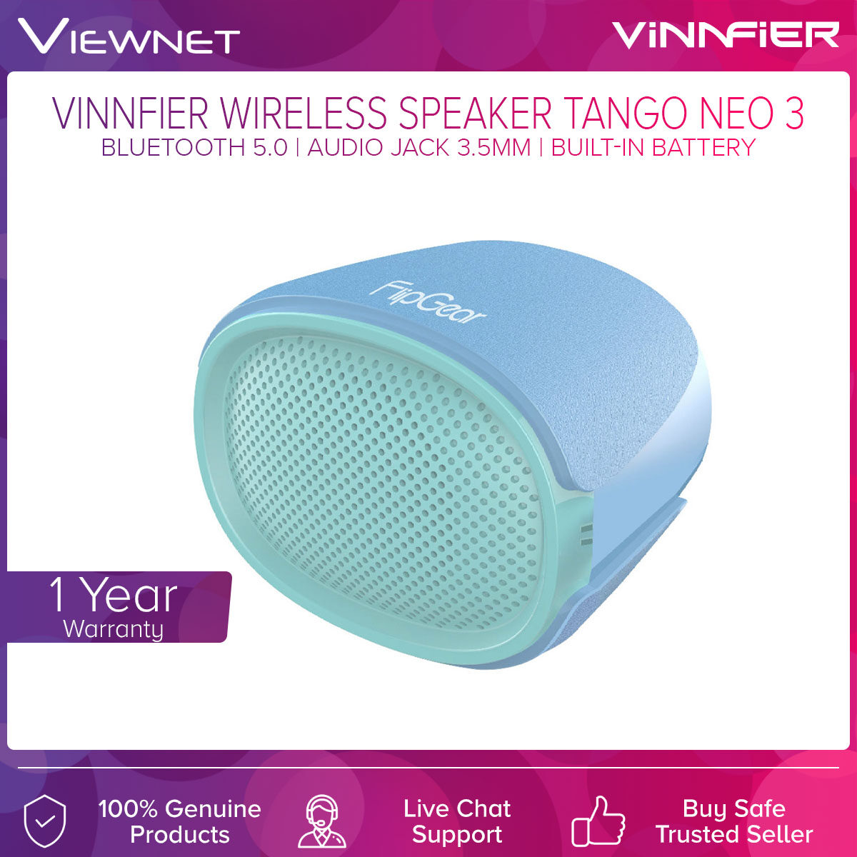 Vinnfier Wireless Portable Speaker Tango Neo 3 with Bluetooth 5.0, Audio Jack 3.5MM, USB Support, Up To 8 Hours Battery Life