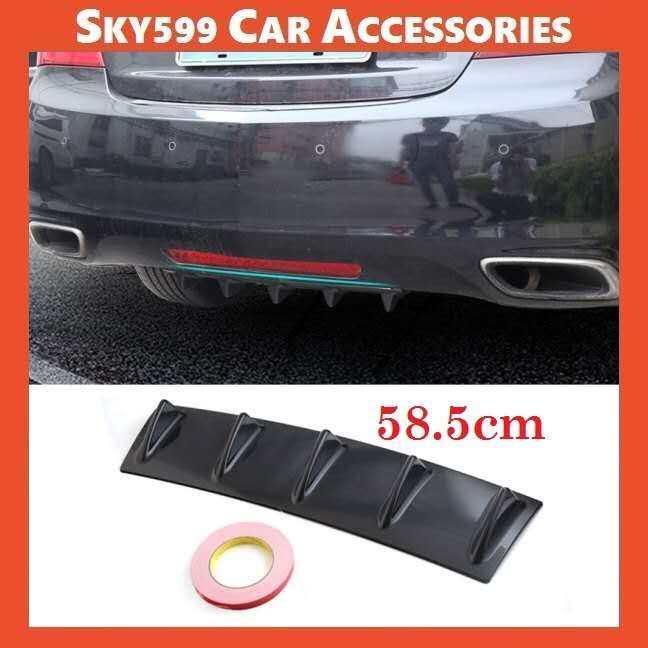 Universal Rear Bumper Chassis Spoiler Shark Deflector Carbon/Black Abs Diffuser?58.5cm?