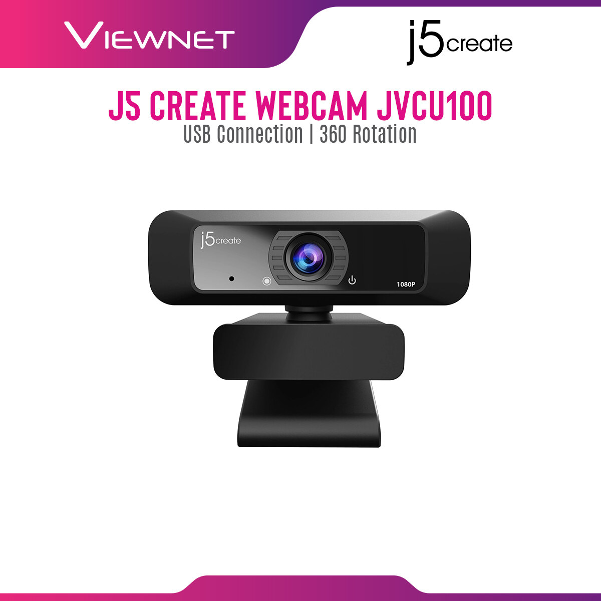 J5 Create JVCU100 Webcam with 360° Rotation, Built-In Mic, Low Light Enhancement, USB Connection, Plug and Play