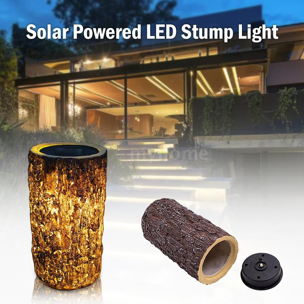 Outdoor Lighting - Solar Powered Energy LED Stump Light Fairy Garden Landscape Outdoor Lamp Sensitive Light Sensor