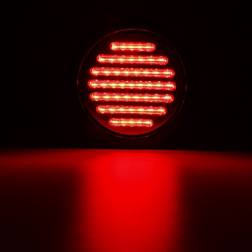 Moto Accessories - RED 4'' 12V 12 LED Round Stop Running Tail Light Trailer Truck Lorry RV Boat - Motorcycles, Parts