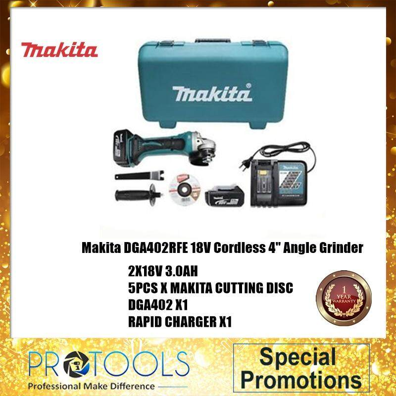 "Makita DGA402RFE 18V Cordless 4"" Angle Grinder FOC 5 PCS  MAKITA CUTTING DISC - 1 YEAR WARRANTY"