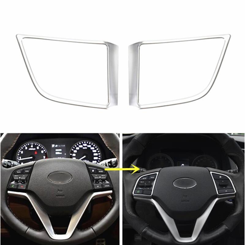 Car Stickers - 1Pair Car Steering Wheel Insert Trim Cover For HYUNDAI Tucson 2017 2016 Interior - Accessories