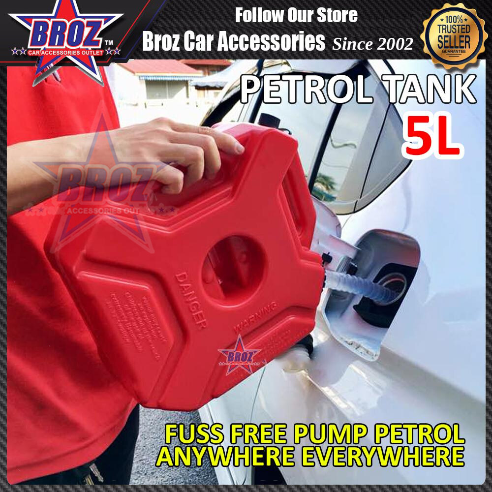 Broz 5L Fuel Tank Cans Spare Plastic Petrol Motorcycle Gas Gasoline Oil Container ( Without Bracket )