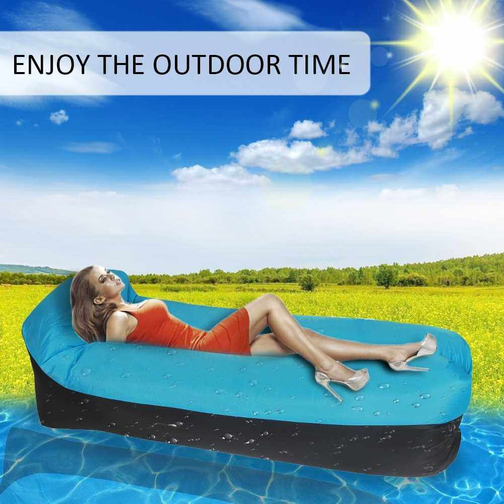 Best Selling Portable Inflatable Sofa Couch Pillow Sleeping Beds for Outdoor Camping Travelling (Blue)