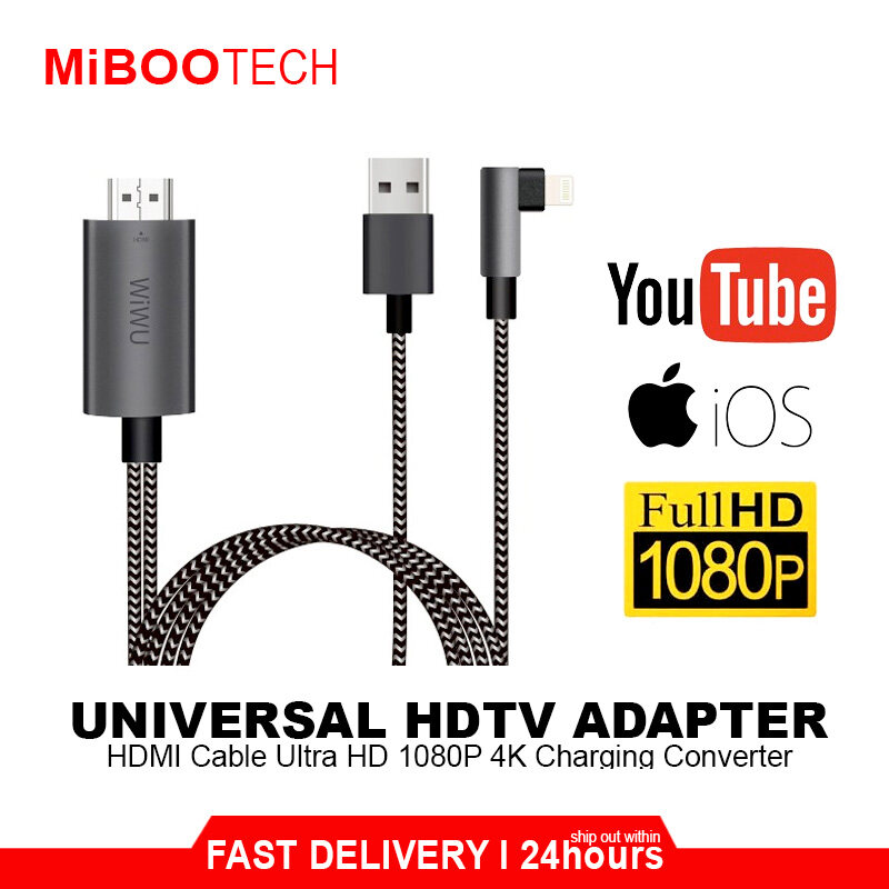 [Miboo]Original WIWU X7 HDMI / HDTV Lightning Cable For iPhone Apple User Full HD 1080P 4K Charging HDTV Video Cable Adapter to TV Gaming / Movie / PPT - Grey White