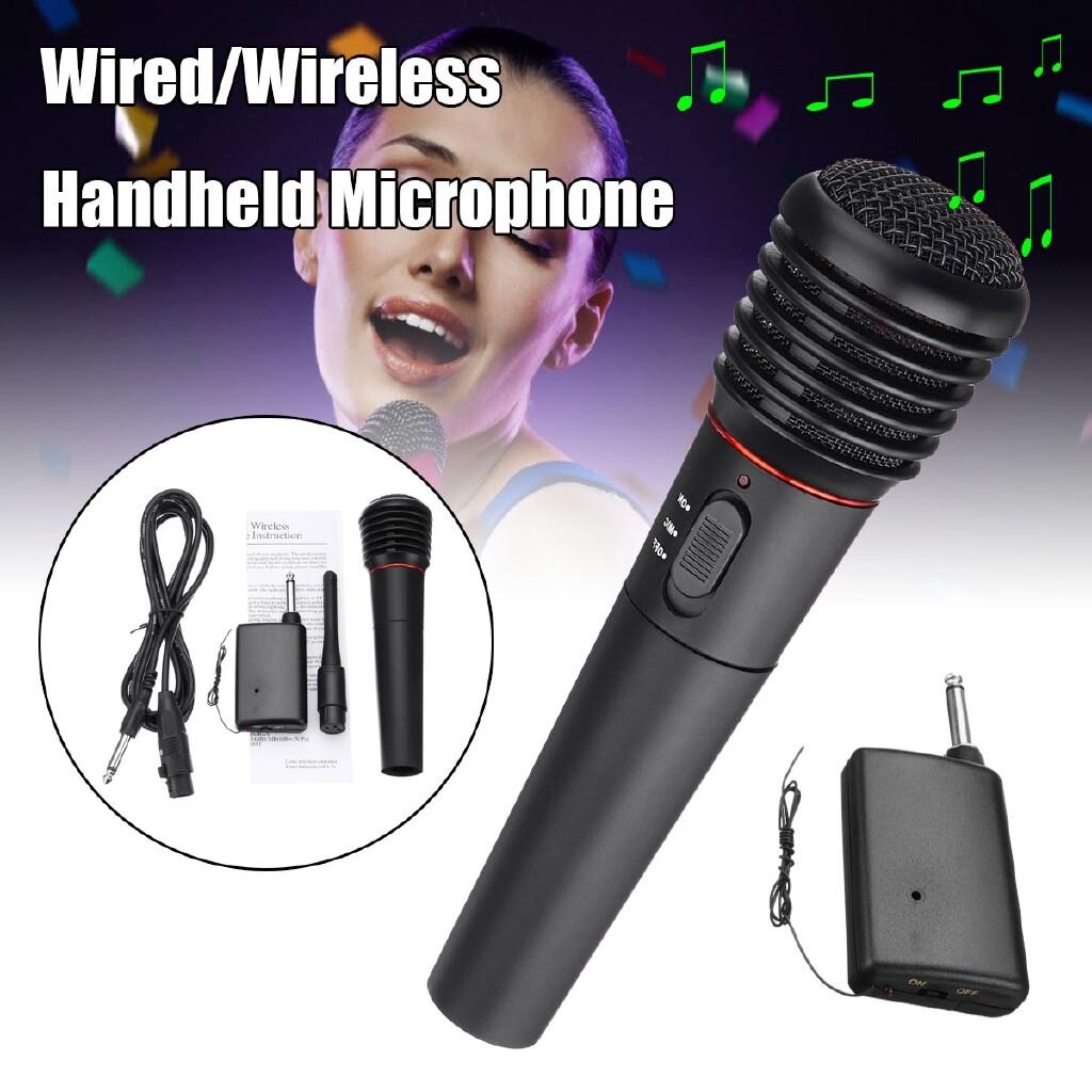 Microphones - 2in1 Wired&WIRELESS Handheld Microphone Mic Dynamic Cordless Singing Karaoke - Audio