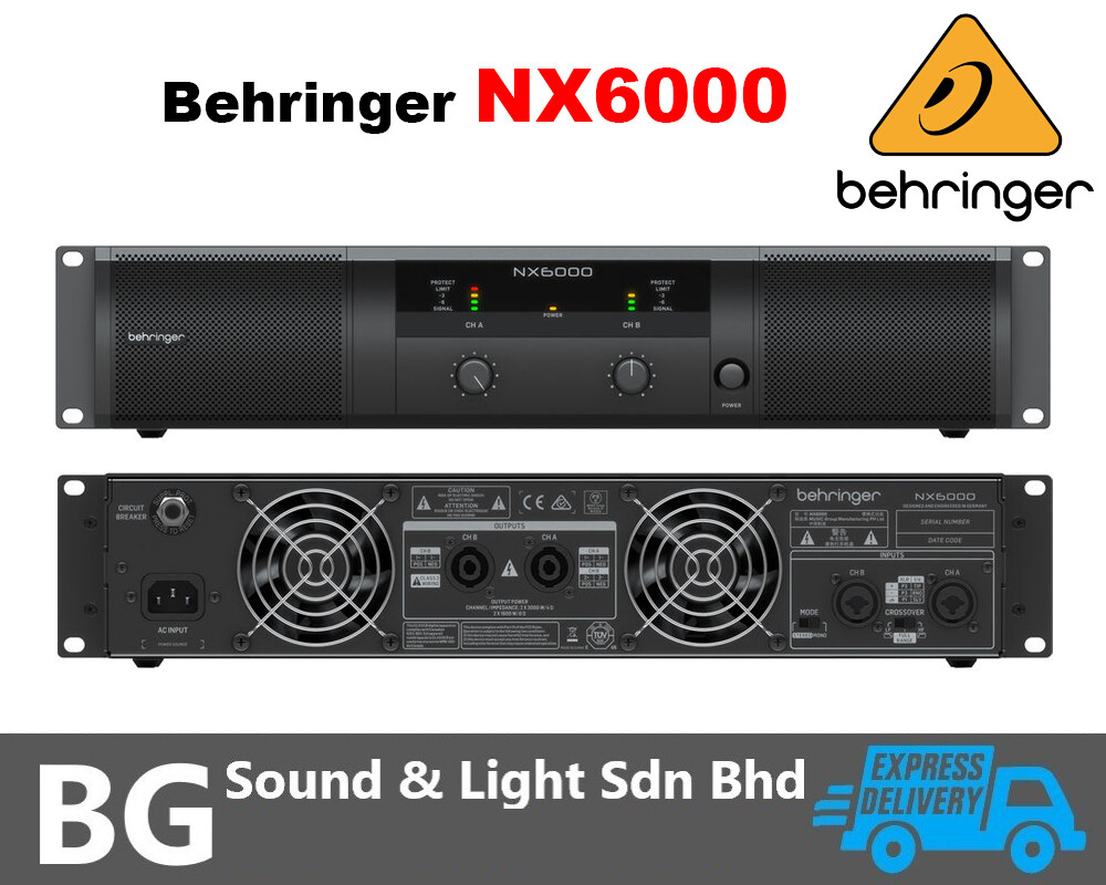 [SHIP OUT EVERYDAY]Behringer NX6000 Ultra-Lightweight High-Density Class-D Stereo Power Amplifier 1600W/Channel at 8 Ohm