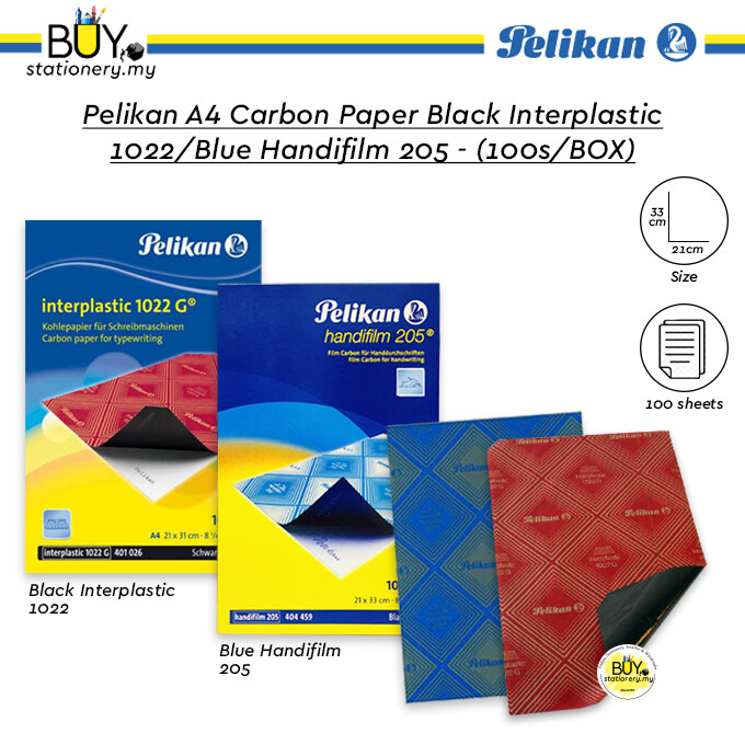 Pelikan A4 Carbon Paper Black Interplastic 1022 / Blue Handifilm 205 – (100s/BOX)