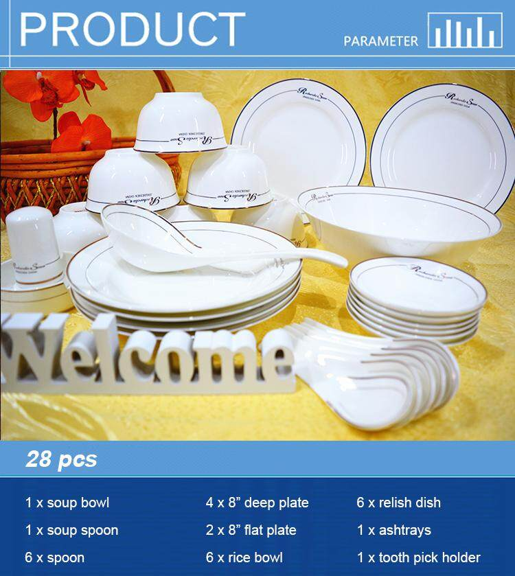 British Style Fine Porcelain 28 Pcs Round Dinnerware Plate Set White + Word + Line + Simple