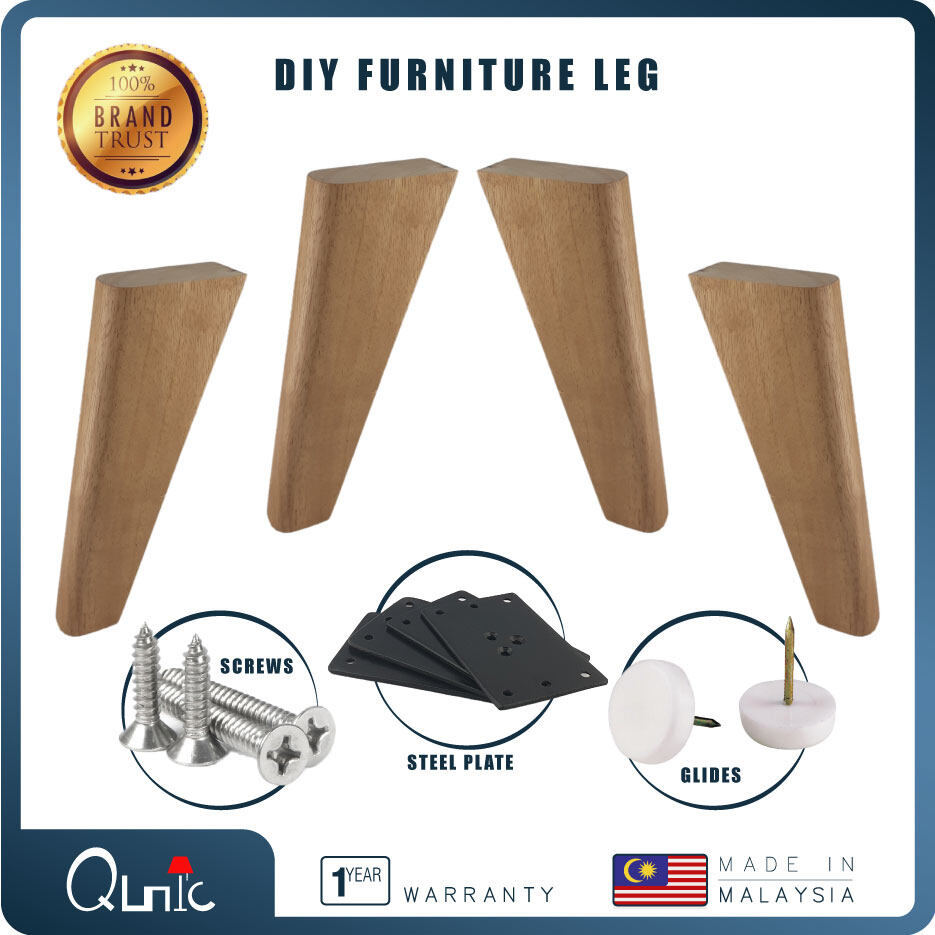 Qunic 8 inch Wood Furniture Leg DIY Natural finished Wood Sofa Bed Pack of 4 Square
